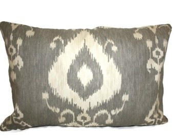 Gray and Cream Ikat Pillow Cover 12x16, 16x16