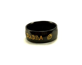 Black Name Ring-Hand stamped Stainless Steel Name Ring with Football Stamped Team Ring Your choice of Ring Style