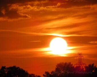 Sailor's Delight PhotoArt- Landscape Photography, Burning Sunset, Skyscape, Sky on Fire, Sun, Red Orange Sky, Wall Art, Home Decor