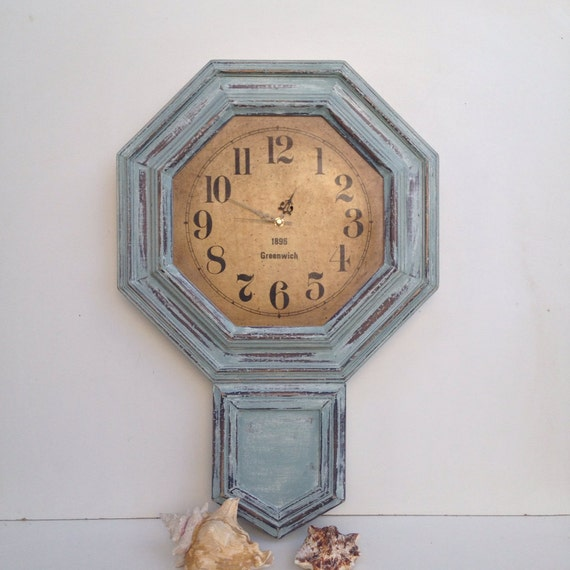 Large Rustic Blue Wall Clock Vintage Wall Clock Distressed
