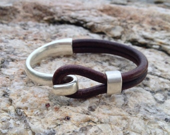 Sailwinds Nautical Bracelet - Blackbeard - Chocolate Brown Half Cuff Leather Bracelet Hand-Crafted in Maine
