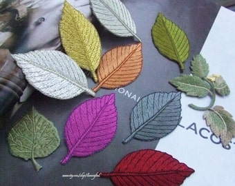 4 Colorful  Leaves Applique Leaf Heavy Embroidery Appliques Patch In Green Red White Yellow- Iron on Applique