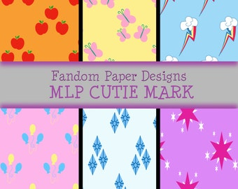 My Little Pony Cutie Marks - Digital Scrapbook Paper - Six Sheets