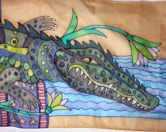 "Silk scarf Hand painted  ""Сrocodile"""