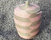 soft pink and grey laundry basket, chevron, rose and gray hamper, wicker, basket weaving, Wäschekorb - africanbaskets