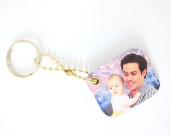 Custom Photo Mini Keychain, perfect gift idea for grandparents, holidays, birthdays, newparents, father's day gift, gift for him