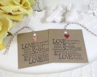 12 Kraft Love Is Wedding Favor Tags, Bridal Shower Tags, Paper Tags,Gift Tags, Favor Tags, Tags