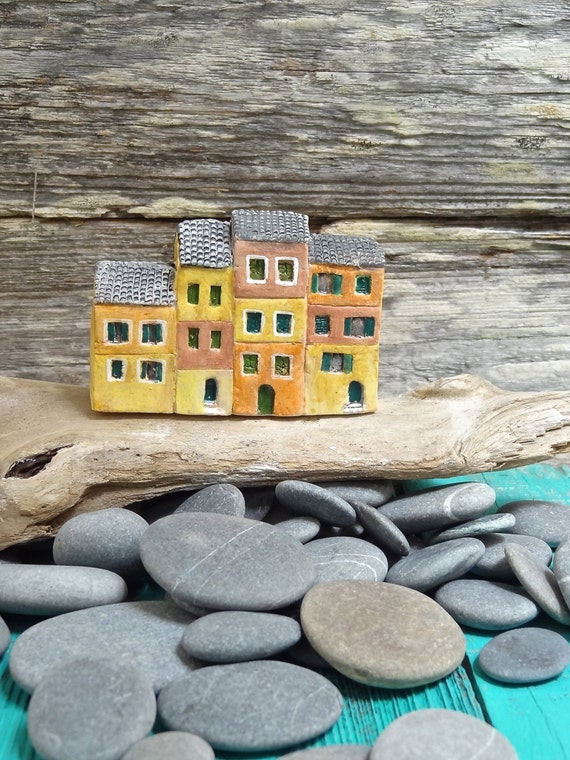 Miniature Italian fishermen row houses - Portofino - OOAK ceramic mini houses- handmade sculpture