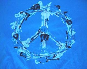 Guitar Peace Hippie Cotton T Shirt Large