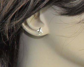Sterling Silver Earrings, Airplanes Studs Earrings, Stud Earrings, Tiny Earrings, Handmade