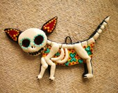 Chuy the Zombie Chihuahua Necklace- Day of the Dead Style Mexican Skeleton Dog Pendant - MiBodegaJewelry