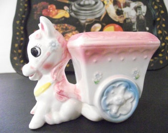 Vintage Ceramic  Donkey and Cart Planter for Baby's Room or New Mom