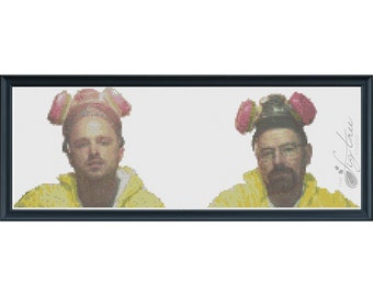 Breaking Bad Walt and Jesse Suits Digital Cross Stitch Pattern