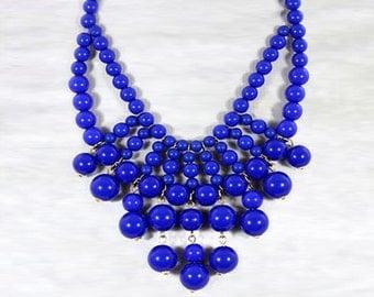 Olivia Necklace - Hot Popular / Blue Beadwork bubble necklace, bib statement necklace, bridal bridesmaid party necklace