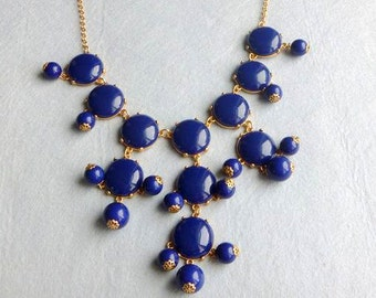 27mm GOLD BIGbubblesmooth Necklace - Hot Popular/Navy Blue smooth bubble necklace,chunky statement necklace,bridal bridesmaid party necklace