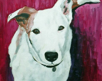 Luna - lurcher dog - Fine art digital print of original acrylic painting by Vicki Horsley