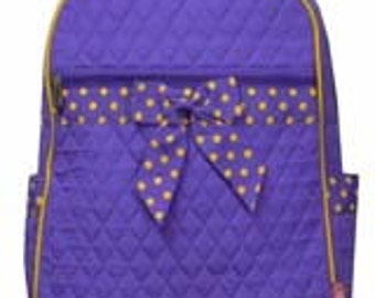 Machine embroidered Quilted Back-pack. FREE Personal Embroidery.  LSU purple.