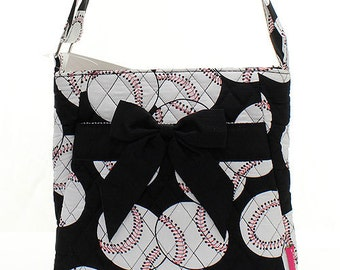 Machine Embroidered Quilted Messenger Bag Purse-Baseball,black/white