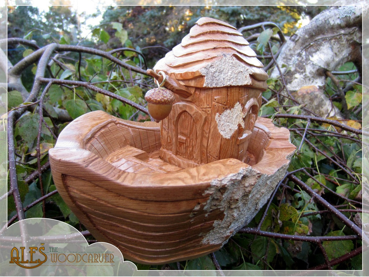 Dwarven boat hand carved cottonwood bark whimsical