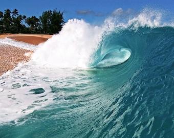 Hawaii Beach Wave Photography - Surfing Photo Print of a Beautiful Blue Wave Crashing on the Beach