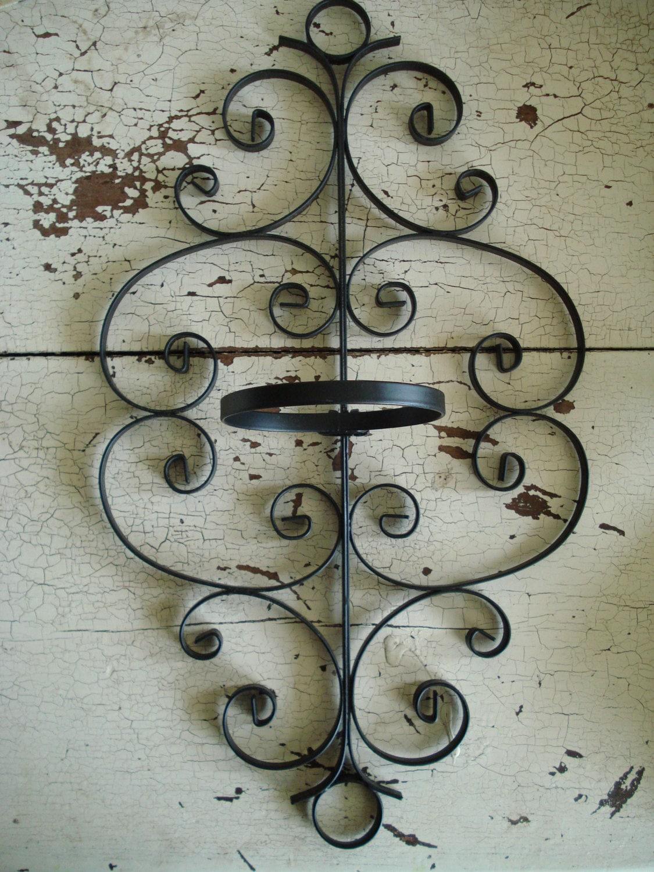 vintage black wrought iron scroll planter wall hanging. Black Bedroom Furniture Sets. Home Design Ideas