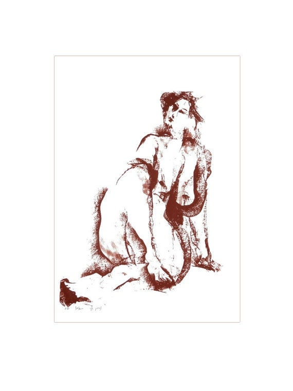 Large wall art large print of a Naked woman from original painting 73x51cm
