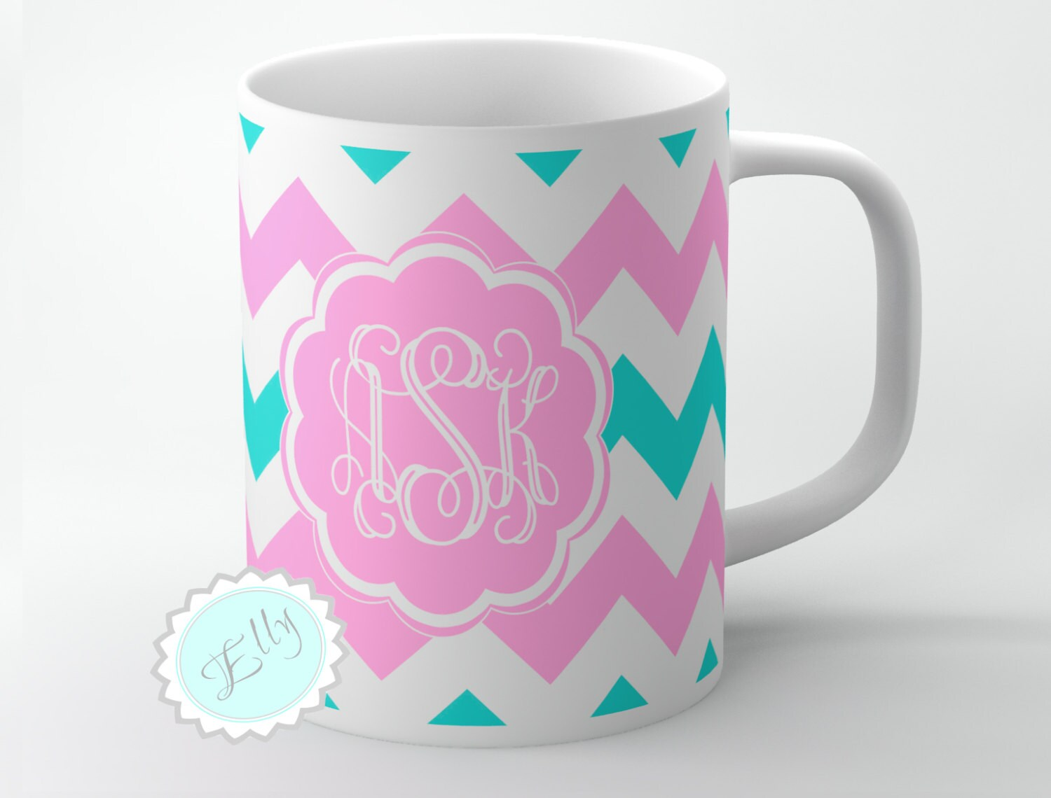 Girly Coffee Cup Cute Curly Pink Monogram On By Butterflyghost