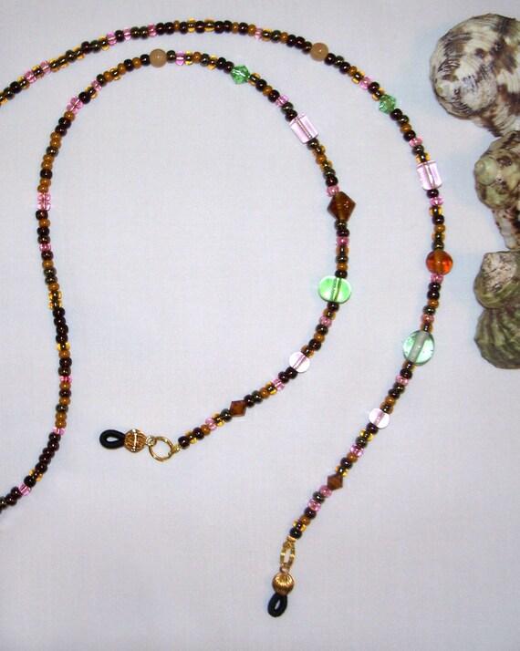 earthtone beaded lanyard eyeglass chain w focal in