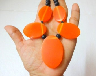 Orange Amber Resin Beads - 5 Oval Shaped Plus One Rondelle Bead