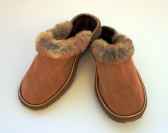Women Slippers, Brown Fur Slippers, Womens Slippers, Handmade Slippers, Leather Slippers, House Slippers, Sheepskin Slippers, Warm Slippers