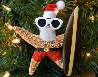 Surfing Santa Sugar Starfish Ornament