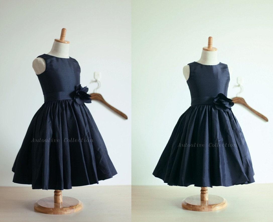Navy Blue Taffeta Flower Girl Dress Infant Toddler by