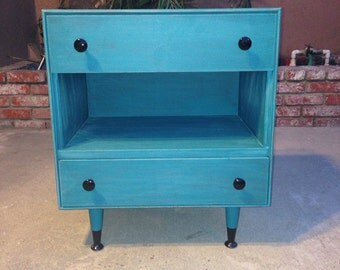 SOLD** Shabby chic teal nightstand