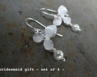 Orchid flower earrings with white enamel and swarovski pearl -  bridesmaid gift set of 4 -