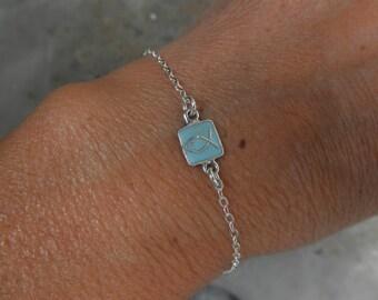 Enamel fish charm bracelet sterling silver