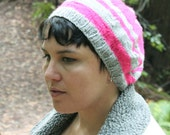 Neon Pink and Gray Stripe Hat