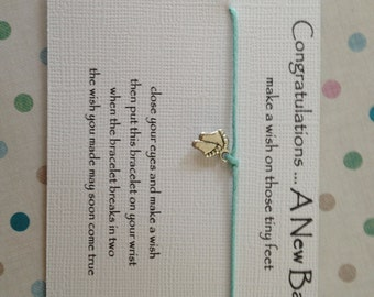 New Mum Gift ~ Congratulations a new baby ~ Wish Bracelet ~ friendship ~ choice charm ~ baby shower favour
