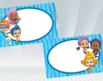 Bubble Guppies Food Tent / Food Label - Blue or Pink