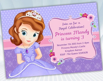 sofia the first invitation  etsy, Party invitations