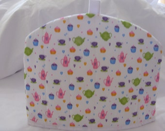 Tea cosy with tea pots etc design