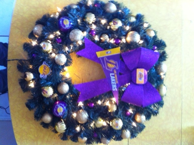 Lakers sports handmade one of a kind holiday christmas wreath
