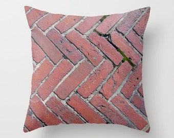 Brick Walkway, Pillow Cover, 16x16, home decoration, Rustic Deco, macro, red brick, construction, pavement, zickzack