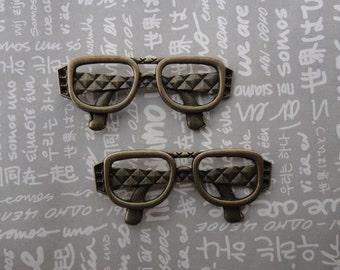 20pcs Antique Brass Metal Charms-glasses pendant--glasses charm--63X27mm--CP284