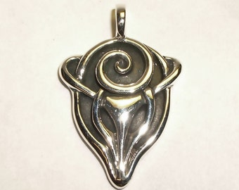 Stag necklace , silver spirit of the forest pendant.