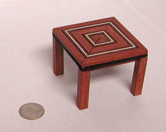 Brown, black and white square coffee table, inlay wood. 1 to 12 dollhouse scale miniature. Made in USA.