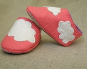 Pink Wool Felt Cloudy Shoes/ Baby Girl Slippers/ Coral Botties