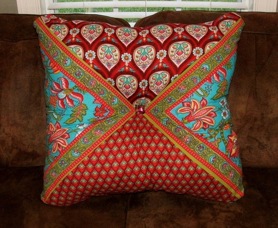 Red and Turquoise Extra Large Stuffed Square Pillow// Red Rose