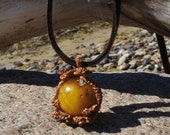 Exlusive Amber Pendant Copper  Honey amber Leather Unique work Handmade Art Jewelry One of Kind Gift for hernd