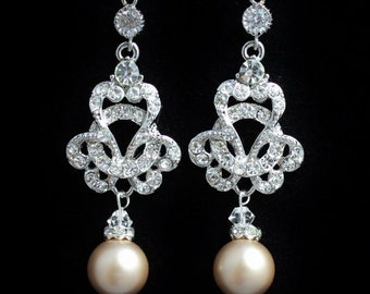 Bridal Chandelier Earrings, Crystal Bridal Jewelry, Crystal and Pearl Earrings, Vintage Wedding Jewelry CELINE Round