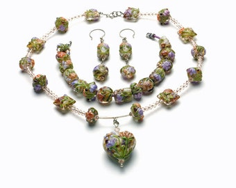 Set: Bracelet, Necklace, and Earrings with Handmade Lampwork, Swarovski Crystals, and Sterling Silver Clasp